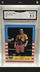 1987 WWF Topps Bret Hit Man Hart Rookie Card #1 In The Set GMA 8.5 Near Mint PSA