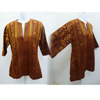 Vintage Deadstock Tunic Shirt Size S Cotton Brocade Gold Red Tribal Vtg India A3
