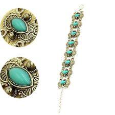 Lady Women Tibetan Silver Chain Bangle Cuff Jewelry Natural Turquoise Bracelet