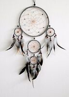 Dream Catcher Gray Wall Hanging Home Decoration Ornament Feathers Bead Nylon 22""