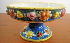 Italy Compote Majolica Eclectic Vintage Estate Flower Buds Blue Yellow Unknown