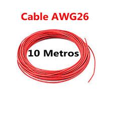 10 Metros Cable Rojo PVC Flexible 26AWG Nucleo Alambre Cobre