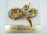 D'Orlan Gold Plated Snake Brooch with Swarovski Crystals and Sandstones 1664