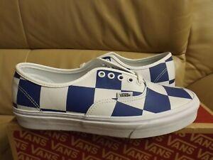 Vans Authentic (Leather Check) Men's Shoes Size 8  White/Blue  VN0A2Z5IT67 NEW