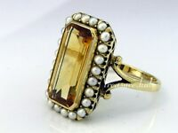 C999- MAJESTIC 9ct Gold Natural CITRINE & PEARL Cluster Ring made in your size