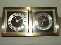 Antique Working 1929 CHELSEA CLOCK CO Art Deco Bronze Clock & Barometer Desk Set