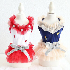 Lace Embroider Pet Clothes Cotton Dog Dress Cat Clothing For Dog Rabbit Female