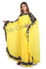 Marroquí Amarillo Dubái Aari Caftanes Abaya Vestido Muy Elegante Largo MS-617