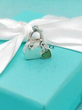 Tiffany & Co Silver Blue Enamel Heart Handbag Purse Charm 4 Necklace Bracelet
