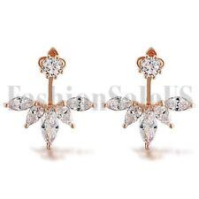 Women Fashion Jewelry Lady Elegant Plated Zirconia Ear Stud Earrings 1 Pair
