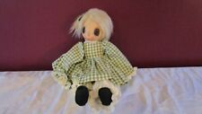 """21"""" Raggedy Rag doll with Huge eyes by Prairie Winds dolls in gingham green"""