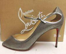 Christian Louboutin 1EN8 85 Baseball Silver Peep Toe Cutout Heels Pumps Shoes 41