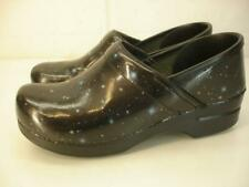 Women's 9.5 10 sz 40 Dansko Professional Stapled Clogs Black Leather Outer Space