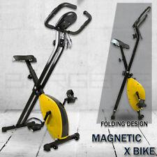 Folding Magnetic Upright Bicycle Training Fitness Stationary Flywheel X-Bike Yel