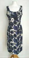 LK BENNETT Size 10 BLUE & IVORY Floral SILK & LINEN Sleeveless Lined DRESS-BNWOT