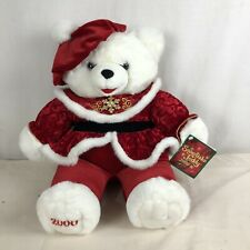 """SNOWFLAKE TEDDY WHITE PLUSH HOLIDAY GIRL BEAR 22"""" WITH TAG FROM 2000"""