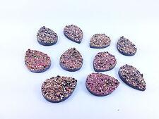 10 MOONROCK Crystal AB Copper 25x18mm PEAR Sew On Stick on Rhinestone GEMS