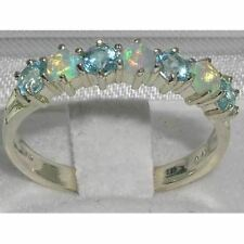 ESTATE SOLID WHITE GOLD NATURAL FIERY OPAL TOPAZ RING