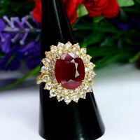 NATURAL 10 X 12 mm. OVAL RED RUBY & WHITE TOPAZ RING 925 STERLING SILVER SZ 7