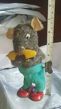 VINTAGE MOUSE EATING CORN 1950 JAPAN WIND UP CLASSIC TIN FABRIC TOY WORKS RARE
