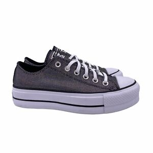 Converse Chuck Taylor All Star Lo Low Lift Platform Metallic Silver Glitter 7.5