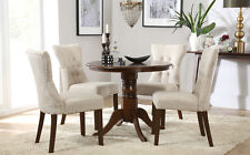 Kingston Round Dark Wood Dining Table & 4 Bewley Fabric Chairs Set - Oatmeal