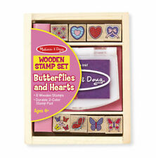 Melissa and Doug Butterflies & Hearts Wooden Stamp Set - Wooden Toy