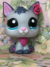 Littlest Pet Shop Gray GERMAN SHEPHERD #2482 Blue Eyes Pink Dog Puppy wolf fox