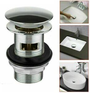 Pop Up Basin Waste Slotted Chrome Sink Push Button Click Clack Plug Kit Bathroom