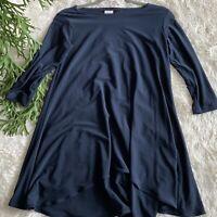 Sympli Womens Size 6 Blue Tunic Top Stretch Flowy 3/4 Sleeves