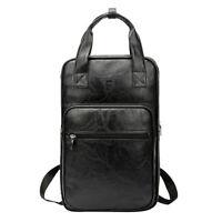 Durable Leather Drum Stick Drumsticks Bag Soft Carrying Case Backpack, Black