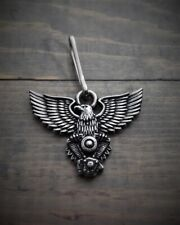 """Zipper Pull, Eagle V-Twin Motorcycle Motor, Premium Quality Pewter, 1.5"""" x 1"""""""