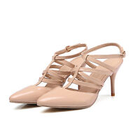 2017 Women's Slingbacks Shoes Pumps High Heels Synthetic Leather Sandals UK Size