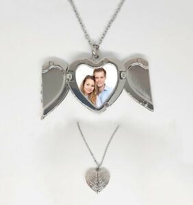 PERSONALISED Necklace Heart Shape Angel Wings Locket Gift with photo picture