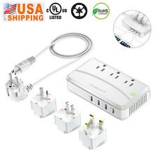 4 USB UK/US/AU Universal Travel Adapter Plug Dual Voltage Converter 220V to 110V