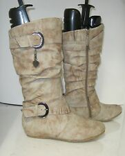 """brown/gray1.5""""hidden wedge comfortable side buckle mid-calf boot Size 6.5  p"""