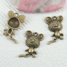 12pcs antiqued bronze color cute mouse design charms EF0860
