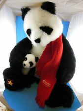 "Wish Bear 19"" Large Panda 2001 Smithsonian Natl Zoological Park with baby Gund"
