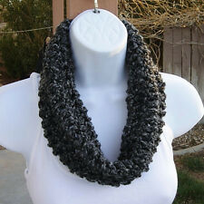 SUMMER COWL SCARF Handmade Black Grey Gray Short Soft Crochet Knit Infinity Loop