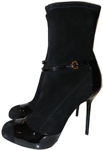 Sergio Rossi Black Stretch Suede Platform Ankle Boot 9 Bootie 39.5 Pump New
