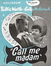 "Billie Worth ""CALL ME MADAM"" Anton Walbrook / Shani Wallis 1952 London Program"