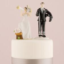 Sports Wedding Cake Topper Cheering Bride and Hockey Groom Custom