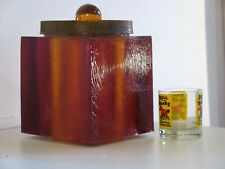New listing Mid Century Lucite Ice Bucket Colorflo Brown Insulated Barware Cooler