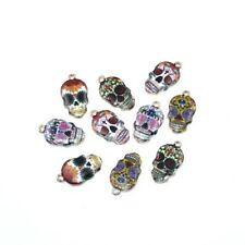 10X Mixed Color Enamel Sugar Skull Charm Pendant 22*12mm For DIY Jewelry