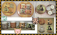 NEW BOXS 8pc DAVID CARTER BROWN 4 MUGS 4 SALAD DESERT PLATES SAKURA CATS GIFTSET