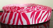 "1M 22mm 7/8"" Pink White Zebra Print Grosgrain Ribbon 99p Birthday Cake Party"