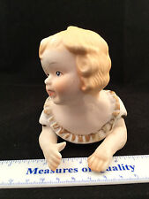 """vtg Piano Baby Figurine NICE matte hand painted LEGO Bisque porcelain 6"""" long vc"""