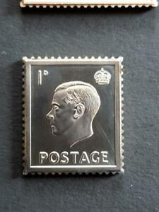 GB-EDWARD 8th-1936-1d-STAMP INGOT-H/MARKED STERLING SILVER-STUNNING ITEM-11g