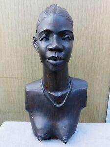 BUSTE DE FEMME AFRICAINE EN BOIS PEINT HAUT 44 CM  DECO ETHNIQUE 15M29