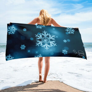 Black and blue towel, Winter crystal snowflakes on blue, Bathroom or beach